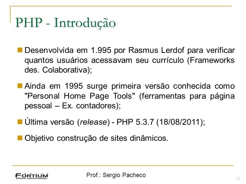 Prof.: Sergio Pacheco Desenvolvida em 1.995 por Rasmus Lerdof para verificar quantos usuários acessavam seu currículo (Frameworks des. Colaborativa);