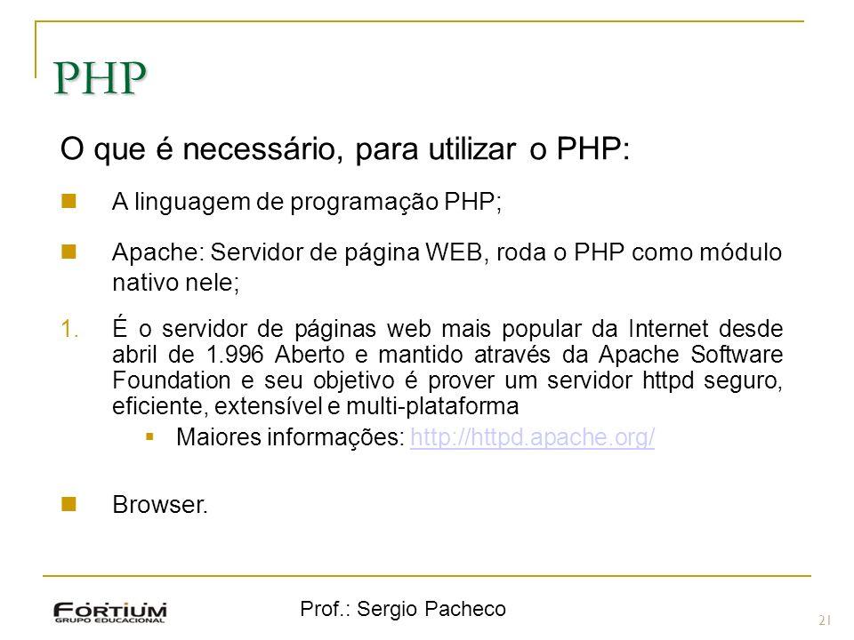 Prof.: Sergio Pacheco PHP O que é necessário, para utilizar o PHP: A linguagem de programação PHP; Apache: Servidor de página WEB, roda o PHP como mód