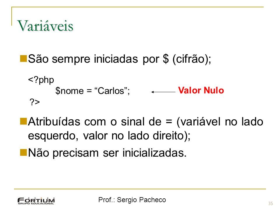 Prof.: Sergio Pacheco Variáveis 35 São sempre iniciadas por $ (cifrão); <?php $nome = Carlos; ?> Atribuídas com o sinal de = (variável no lado esquerd
