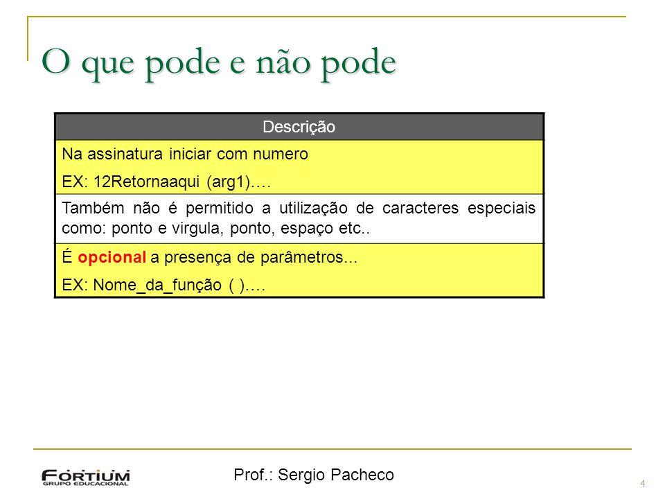 Prof.: Sergio Pacheco O que pode e não pode 4 Descrição Na assinatura iniciar com numero EX: 12Retornaaqui (arg1)…. Também não é permitido a utilizaçã