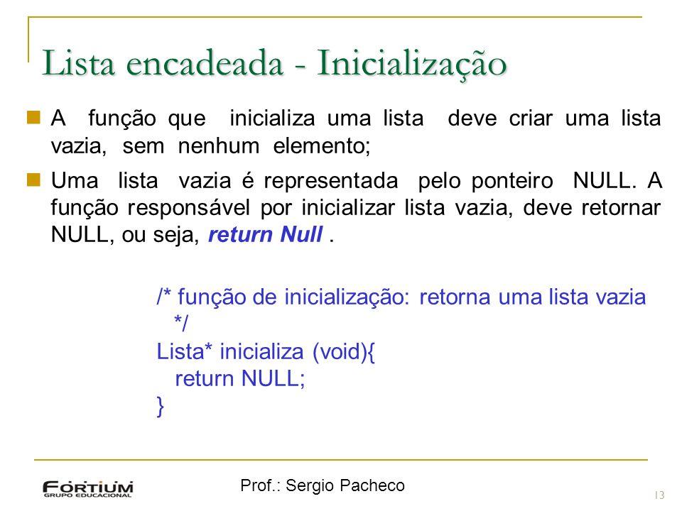 Prof.: Sergio Pacheco Lista encadeada - Inicialização 13 A função que inicializa uma lista deve criar uma lista vazia, sem nenhum elemento; Uma lista