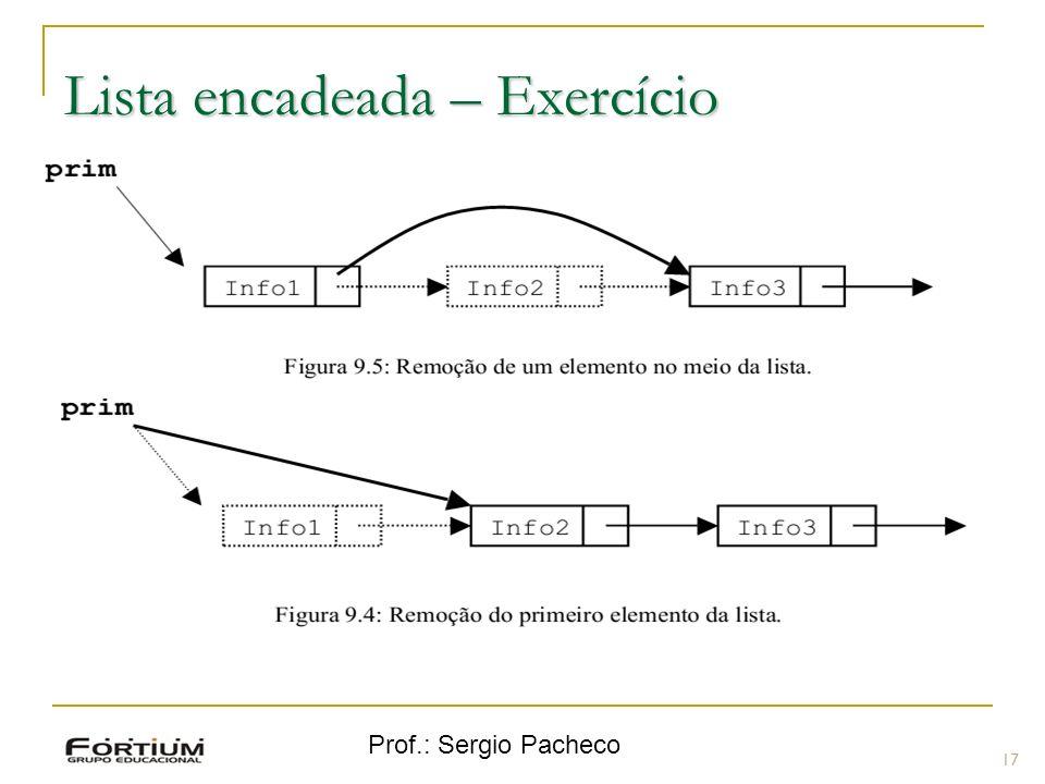 Prof.: Sergio Pacheco Lista encadeada – Exercício 17 A função para retirar um elemento da lista é mais complexa; Verificar a posição do nó a ser retir