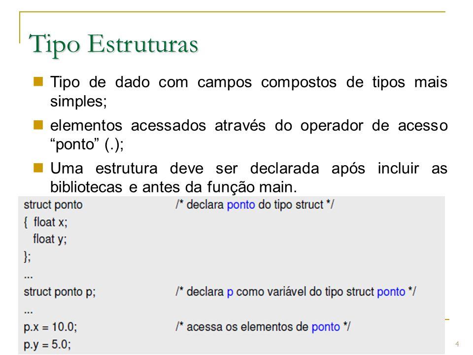 Prof.: Sergio Pacheco Tipo Estruturas 4 Tipo de dado com campos compostos de tipos mais simples; elementos acessados através do operador de acesso pon