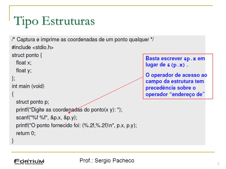 Prof.: Sergio Pacheco Tipo Estruturas - Exemplo 6