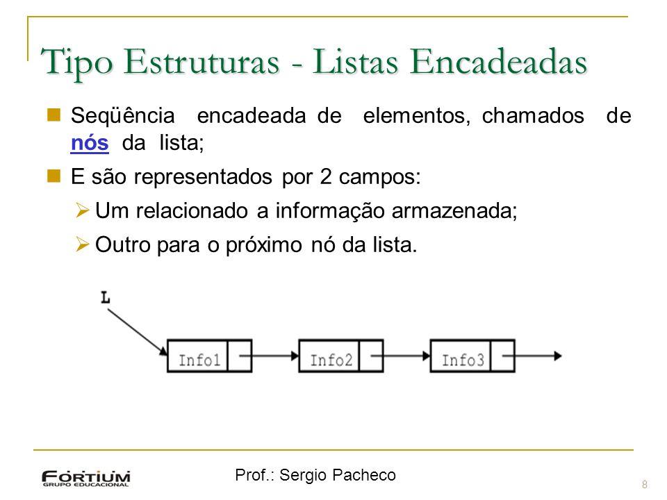 Prof.: Sergio Pacheco Tipo Estruturas - Listas Encadeadas 8 Seqüência encadeada de elementos, chamados de nós da lista; E são representados por 2 camp