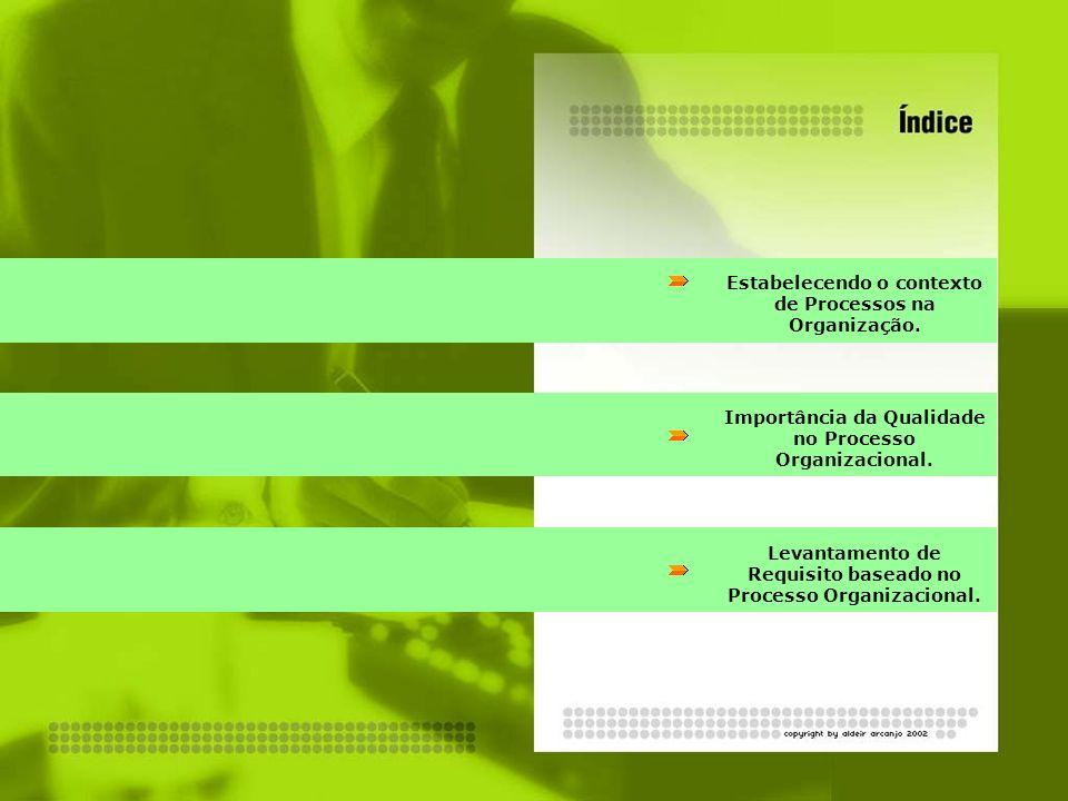 Estabelecendo o contexto de Processos na Organização. Importância da Qualidade no Processo Organizacional. Levantamento de Requisito baseado no Proces