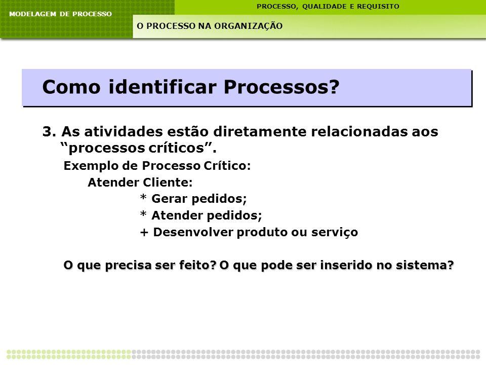 MODELAGEM DE PROCESSO PROCESSO, QUALIDADE E REQUISITO O PROCESSO NA ORGANIZAÇÃO Como identificar Processos? 3. As atividades estão diretamente relacio