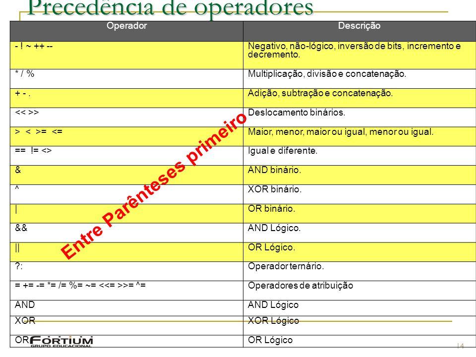 Precedência de operadores 14 OperadorDescrição - .