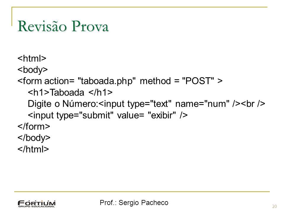 Prof.: Sergio Pacheco Revisão Prova Taboada Digite o Número: 20