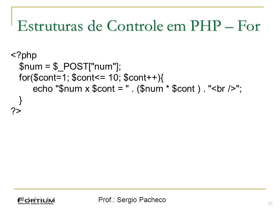 Prof.: Sergio Pacheco 21 <?php $num = $_POST[ num ]; for($cont=1; $cont<= 10; $cont++){ echo $num x $cont = .
