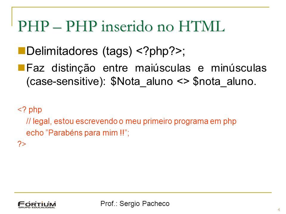 Prof.: Sergio Pacheco PHP inserido no HTML Entendendo as tags: 5 ElementoDescrição <?phpInforma que começa um programa php.