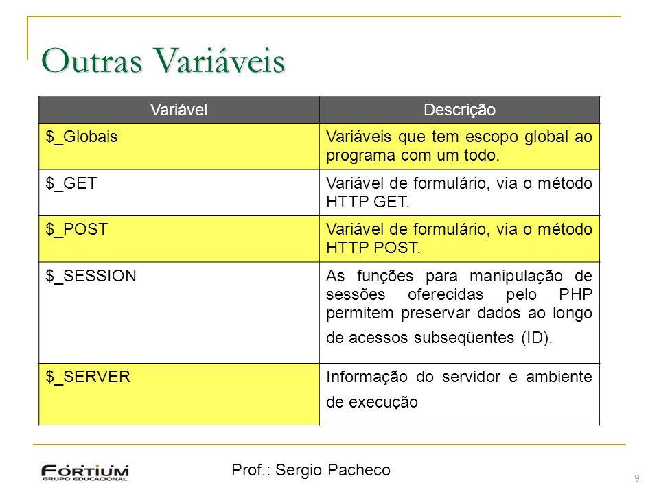 Prof.: Sergio Pacheco Outras Variáveis 9 VariávelDescrição $_GlobaisVariáveis que tem escopo global ao programa com um todo.