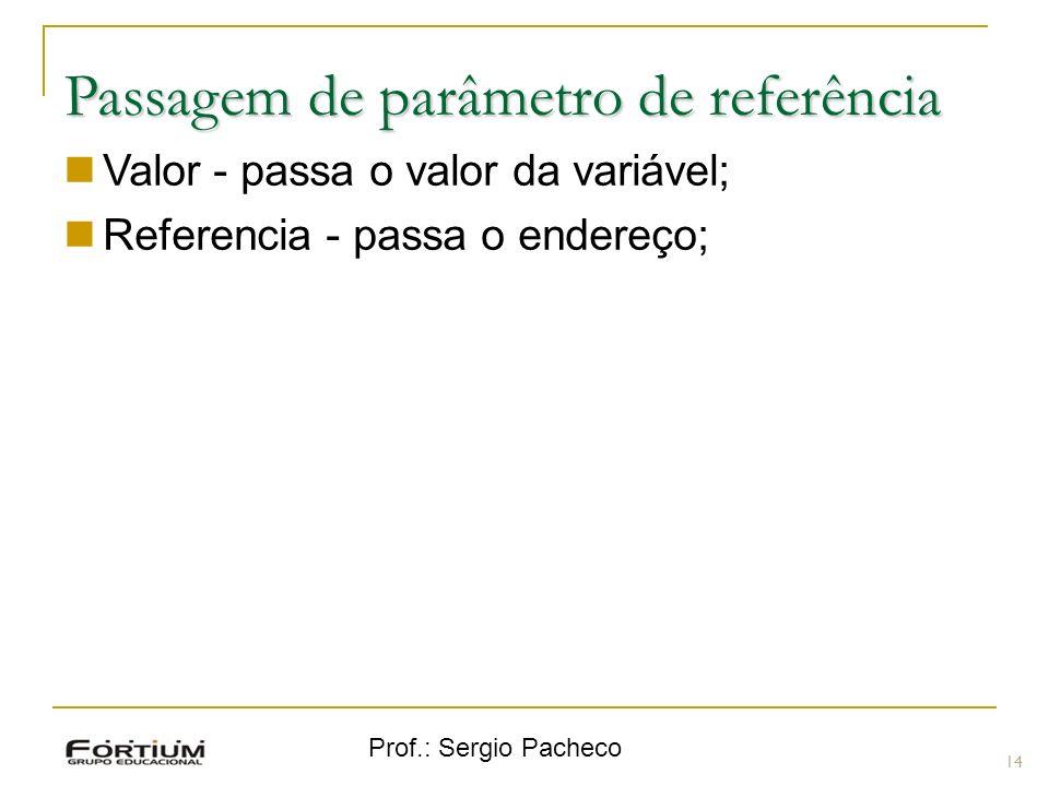 Prof.: Sergio Pacheco Passagem de parâmetro de referência Valor - passa o valor da variável; Referencia - passa o endereço; 14