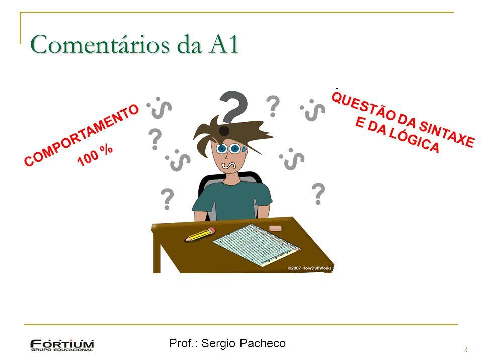 Prof.: Sergio Pacheco Comentários da A1 3 COMPORTAMENTO 100 % QUESTÃO DA SINTAXE E DA LÓGICA