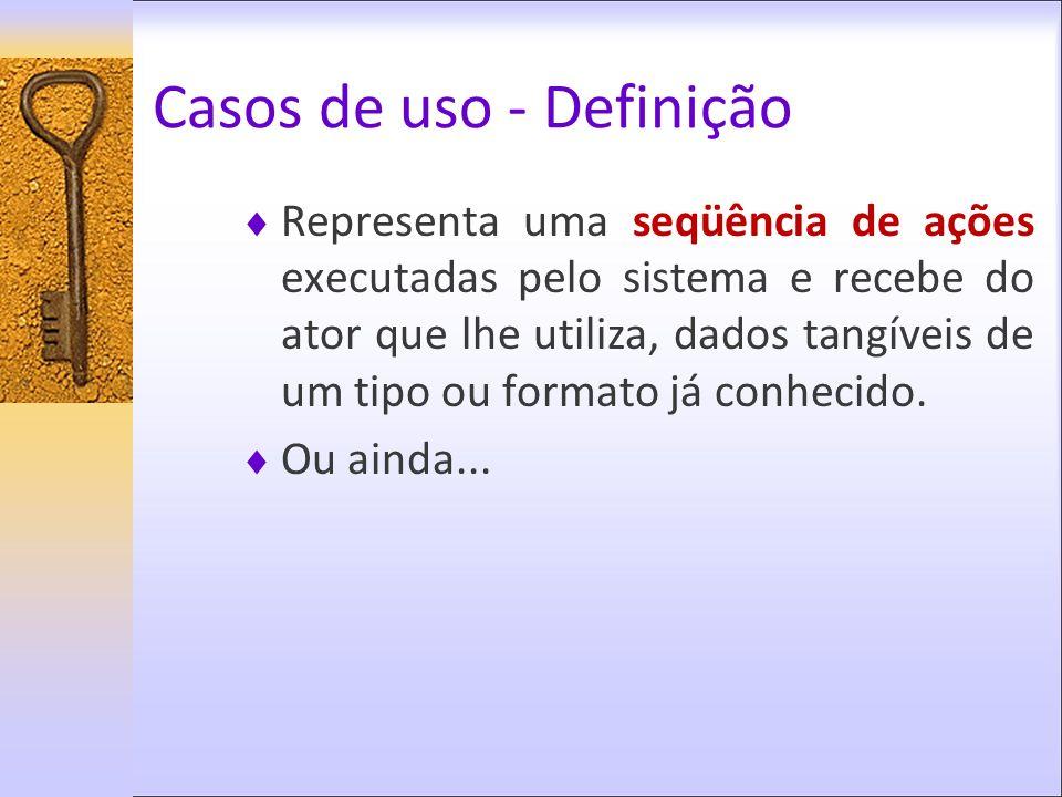 Casos de uso - Definição Representa uma seqüência de ações executadas pelo sistema e recebe do ator que lhe utiliza, dados tangíveis de um tipo ou for