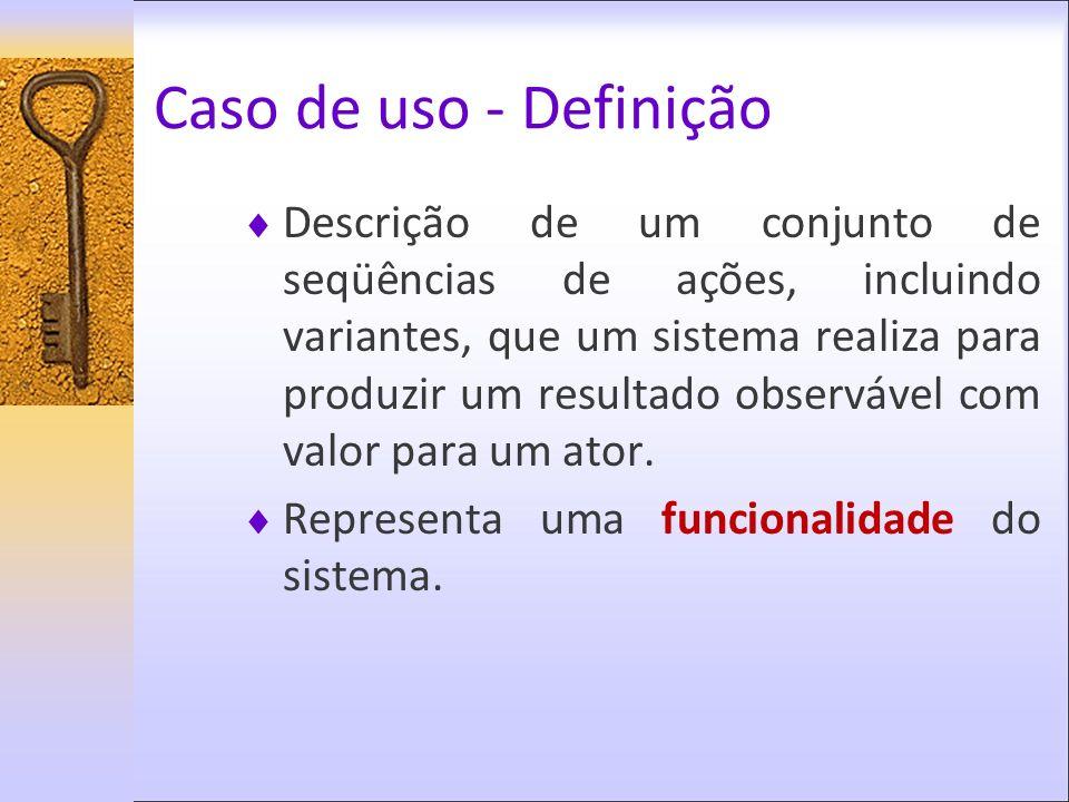 Caso de uso - Definição Descrição de um conjunto de seqüências de ações, incluindo variantes, que um sistema realiza para produzir um resultado observ