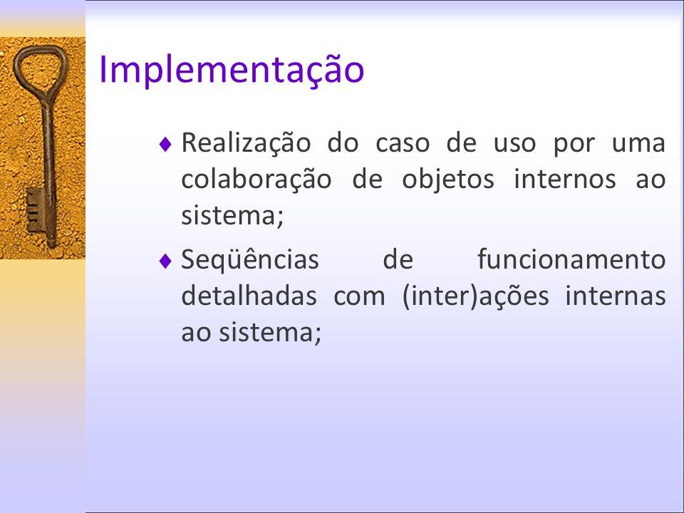 Implementação Realização do caso de uso por uma colaboração de objetos internos ao sistema; Seqüências de funcionamento detalhadas com (inter)ações in