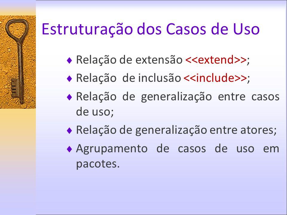 Relação de extensão >; Relação de inclusão >; Relação de generalização entre casos de uso; Relação de generalização entre atores; Agrupamento de casos