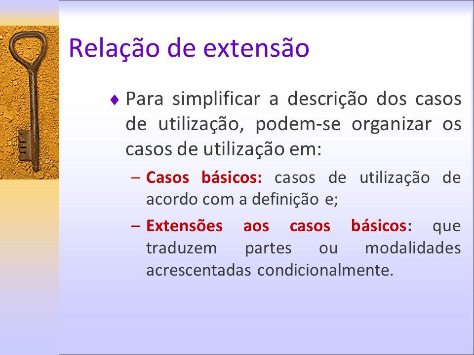 Relação de extensão Para simplificar a descrição dos casos de utilização, podem-se organizar os casos de utilização em: –Casos básicos: casos de utili
