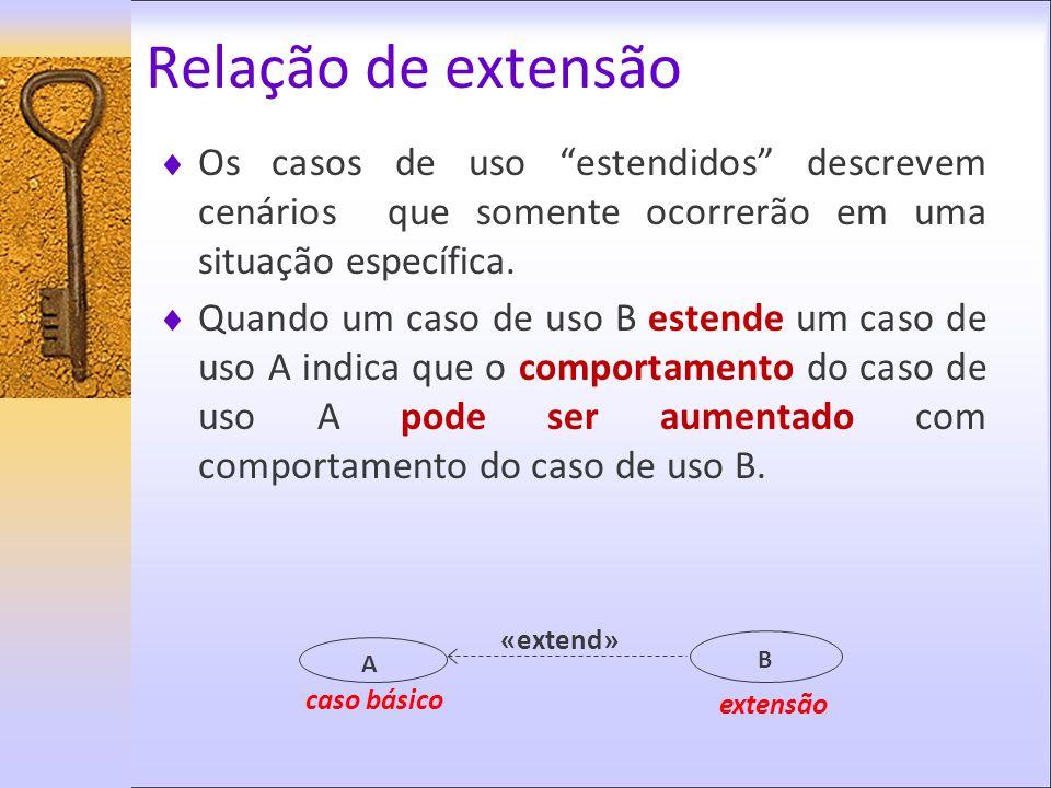 Relação de extensão Os casos de uso estendidos descrevem cenários que somente ocorrerão em uma situação específica. Quando um caso de uso B estende um
