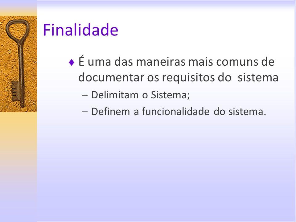 Finalidade É uma das maneiras mais comuns de documentar os requisitos do sistema –Delimitam o Sistema; –Definem a funcionalidade do sistema.
