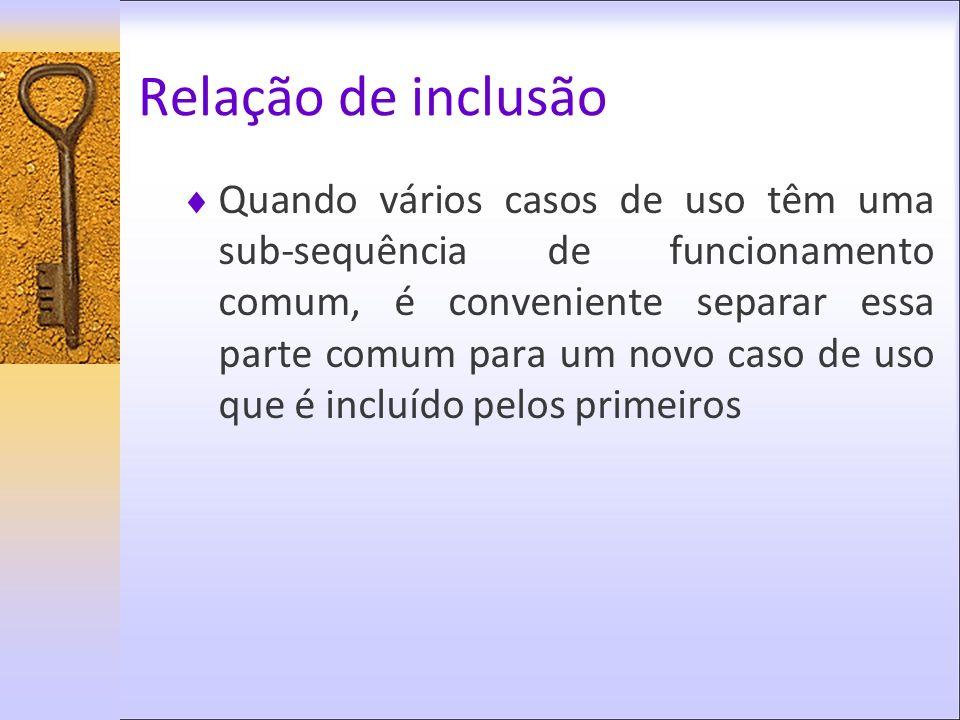 Relação de inclusão Quando vários casos de uso têm uma sub-sequência de funcionamento comum, é conveniente separar essa parte comum para um novo caso