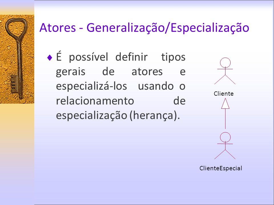 Atores - Generalização/Especialização É possível definir tipos gerais de atores e especializá-los usando o relacionamento de especialização (herança).
