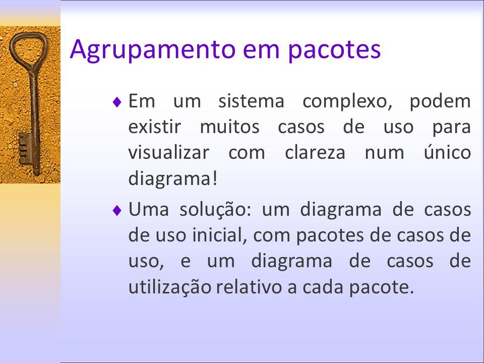 Agrupamento em pacotes Em um sistema complexo, podem existir muitos casos de uso para visualizar com clareza num único diagrama! Uma solução: um diagr