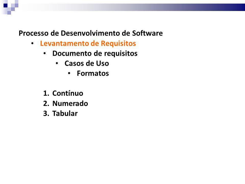 Processo de Desenvolvimento de Software Casos de Uso Formatos 1.Contínuo Narrativa por meio de texto livre.