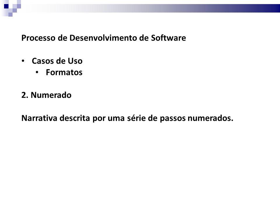 Processo de Desenvolvimento de Software Casos de Uso Formatos 3.