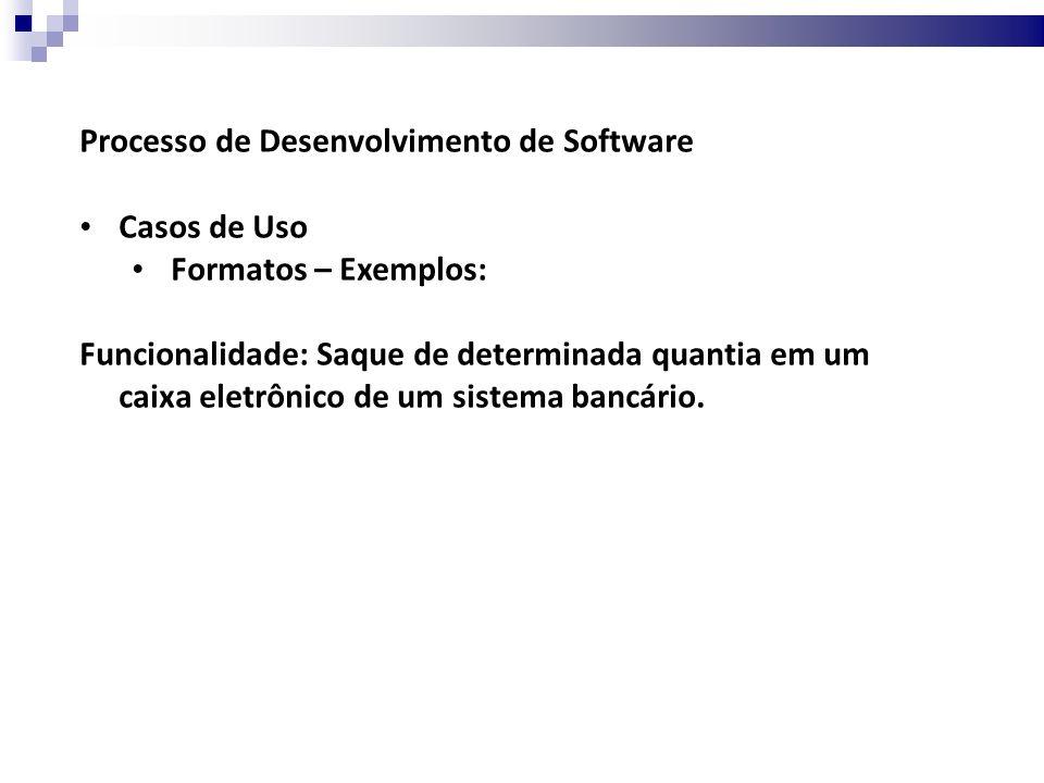 Processo de Desenvolvimento de Software Casos de Uso Formatos – Exemplos: 1.