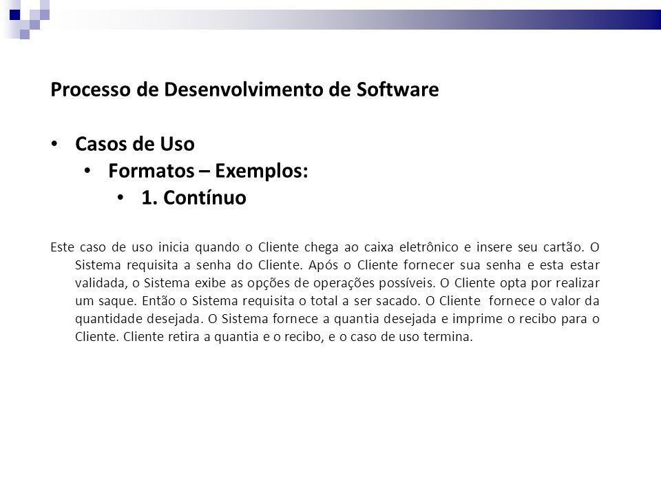 Processo de Desenvolvimento de Software Casos de Uso Formatos – Exemplos: 2.