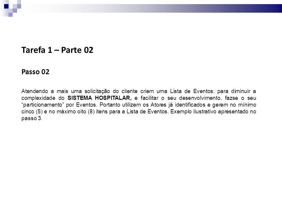 Tarefa 1 – Parte 02 Passo 03 Os itens identificados na Lista de Eventos devem ser entregues para serem analisados pelo cliente.
