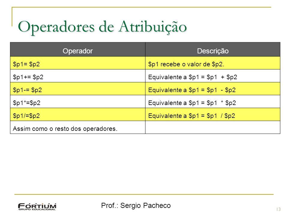 Prof.: Sergio Pacheco Operadores de Atribuição 13 OperadorDescrição $p1= $p2$p1 recebe o valor de $p2. $p1+= $p2Equivalente a $p1 = $p1 + $p2 $p1-= $p
