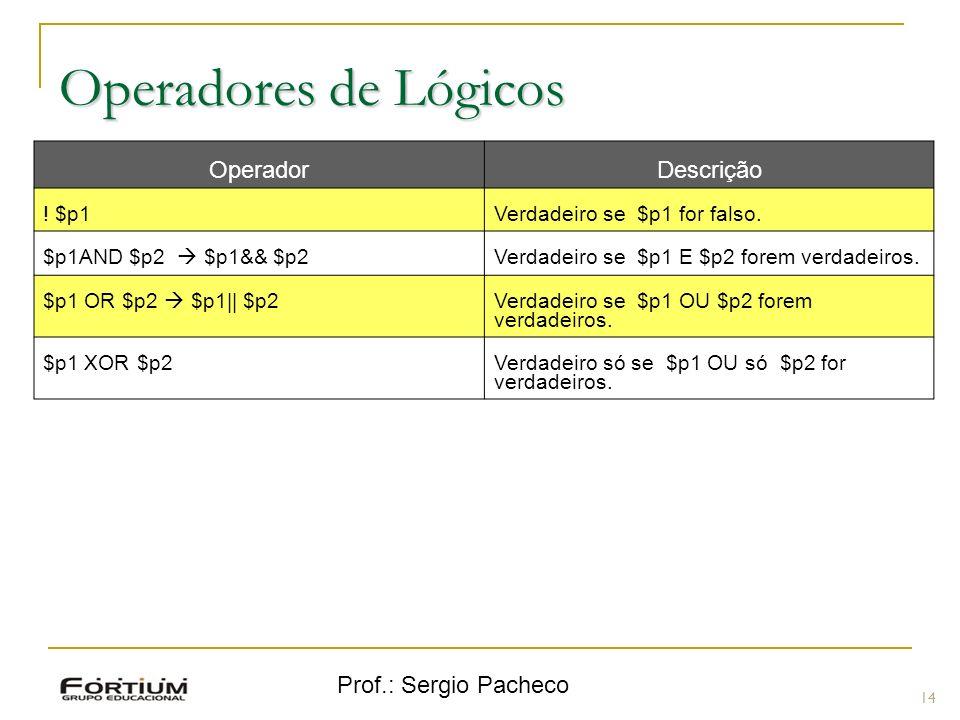 Prof.: Sergio Pacheco Operadores de Lógicos 14 OperadorDescrição ! $p1Verdadeiro se $p1 for falso. $p1AND $p2 $p1&& $p2 Verdadeiro se $p1 E $p2 forem