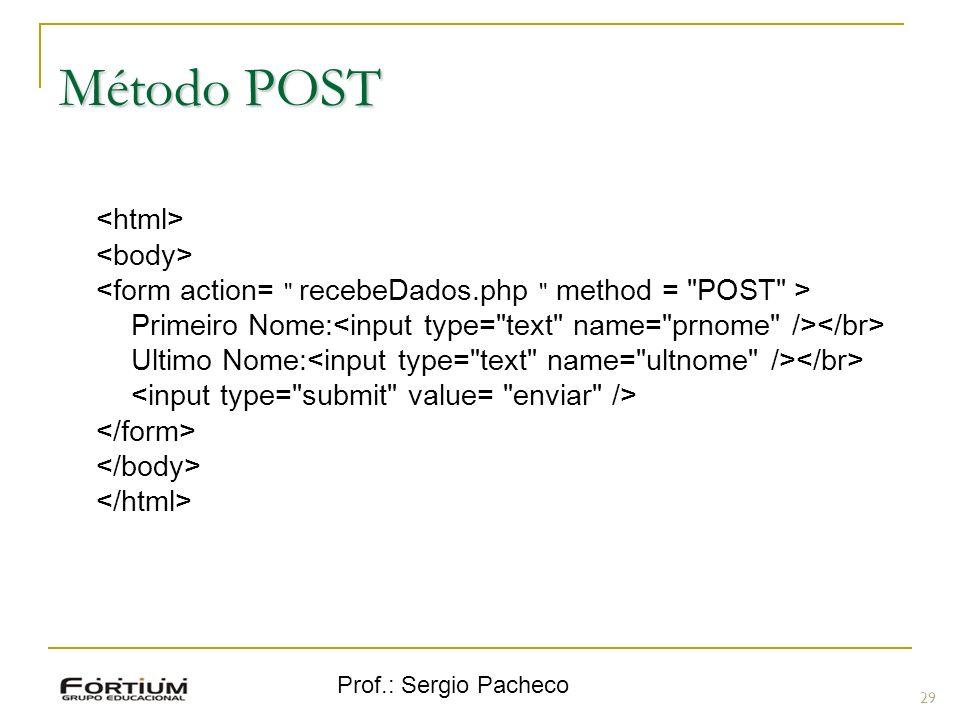 Prof.: Sergio Pacheco Método POST Primeiro Nome: Ultimo Nome: 29