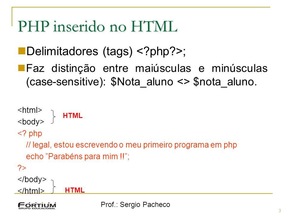 Prof.: Sergio Pacheco PHP inserido no HTML Delimitadores (tags) ; Faz distinção entre maiúsculas e minúsculas (case-sensitive): $Nota_aluno <> $nota_a