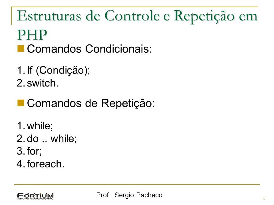 Prof.: Sergio Pacheco Estruturas de Controle e Repetição em PHP Comandos Condicionais: 1.If (Condição); 2.switch. Comandos de Repetição: 1.while; 2.do