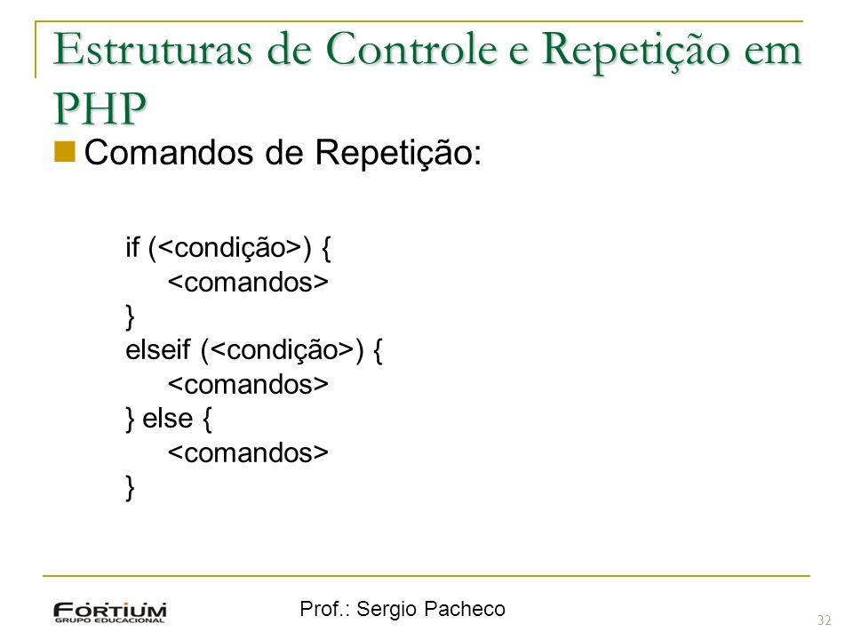 Prof.: Sergio Pacheco Comandos de Repetição: if ( ) { } elseif ( ) { } else { } 32 Estruturas de Controle e Repetição em PHP