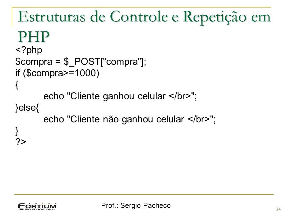 Prof.: Sergio Pacheco <?php $compra = $_POST[
