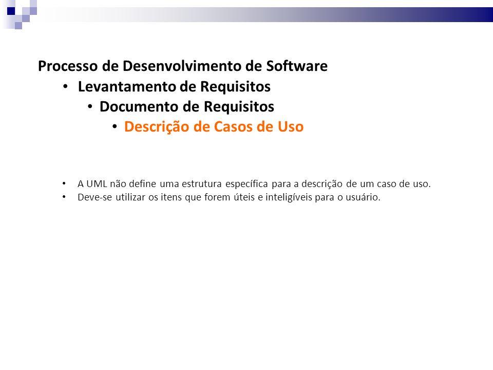 Processo de Desenvolvimento de Software Levantamento de Requisitos Documento de Requisitos Descrição de Casos de Uso A UML não define uma estrutura específica para a descrição de um caso de uso.
