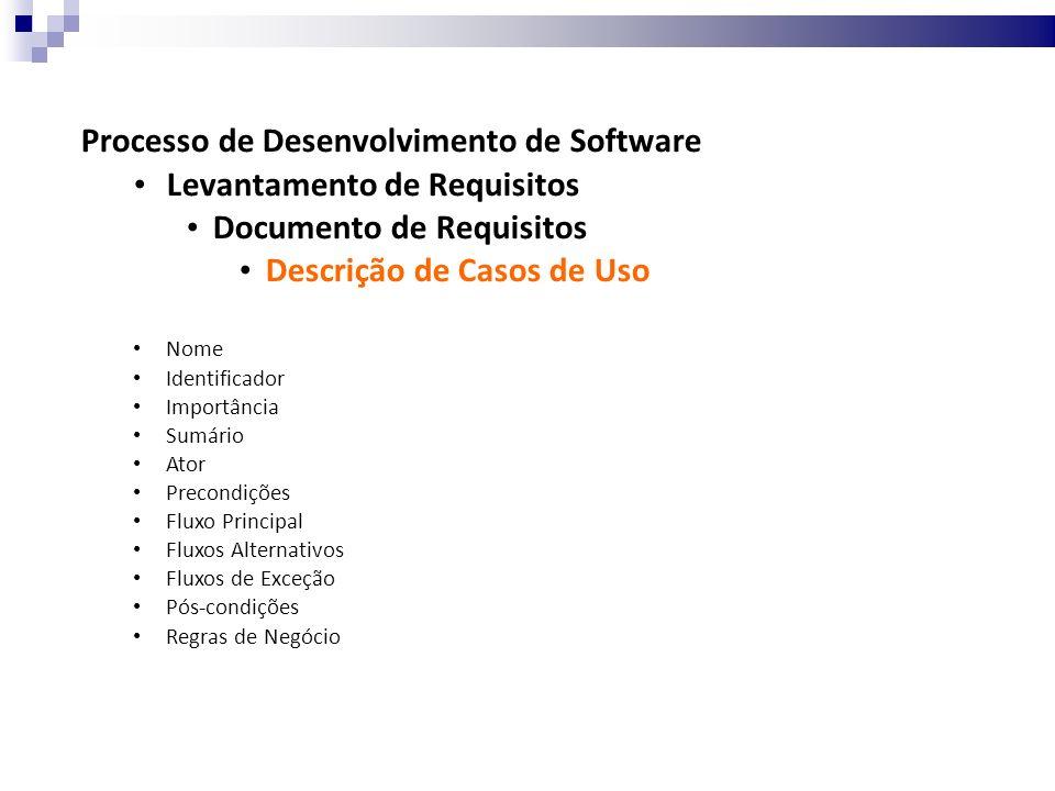 Processo de Desenvolvimento de Software Levantamento de Requisitos Documento de Requisitos Descrição de Casos de Uso Nome Identificador Importância Sumário Ator Precondições Fluxo Principal Fluxos Alternativos Fluxos de Exceção Pós-condições Regras de Negócio