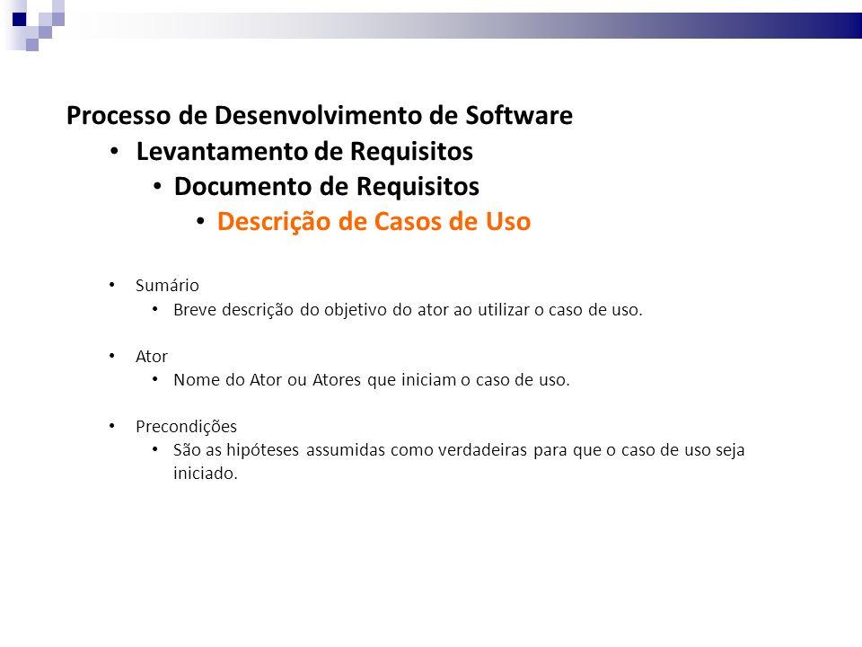 Processo de Desenvolvimento de Software Levantamento de Requisitos Documento de Requisitos Descrição de Casos de Uso Sumário Breve descrição do objetivo do ator ao utilizar o caso de uso.