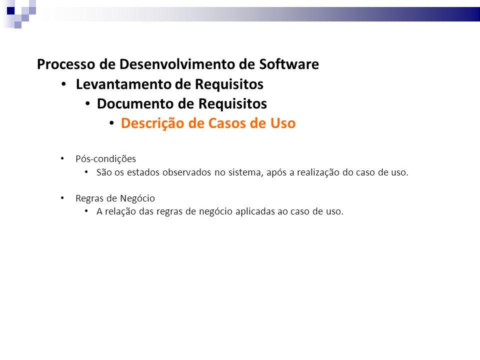 Processo de Desenvolvimento de Software Levantamento de Requisitos Documento de Requisitos Descrição de Casos de Uso Pós-condições São os estados observados no sistema, após a realização do caso de uso.