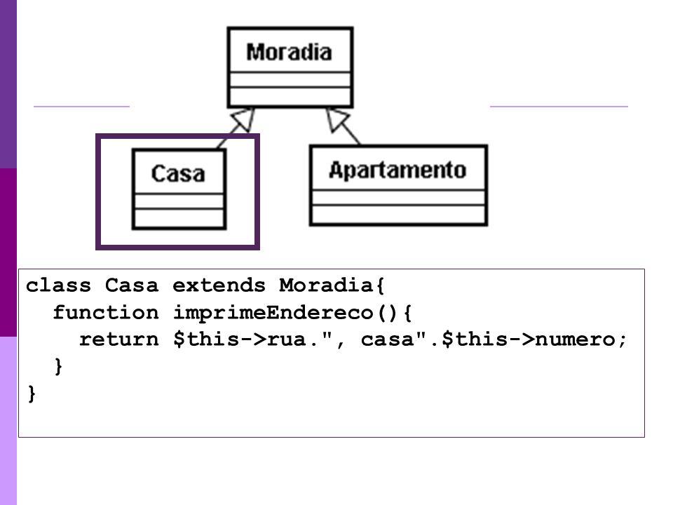 class Casa extends Moradia{ function imprimeEndereco(){ return $this->rua.