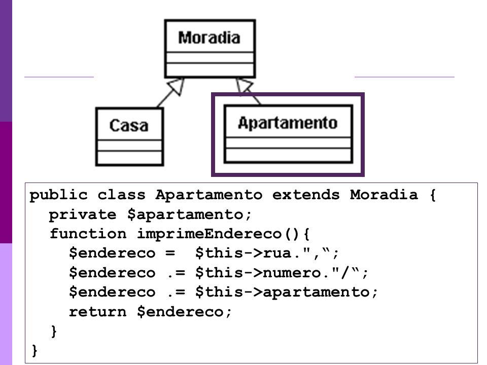 public class Apartamento extends Moradia { private $apartamento; function imprimeEndereco(){ $endereco = $this->rua.