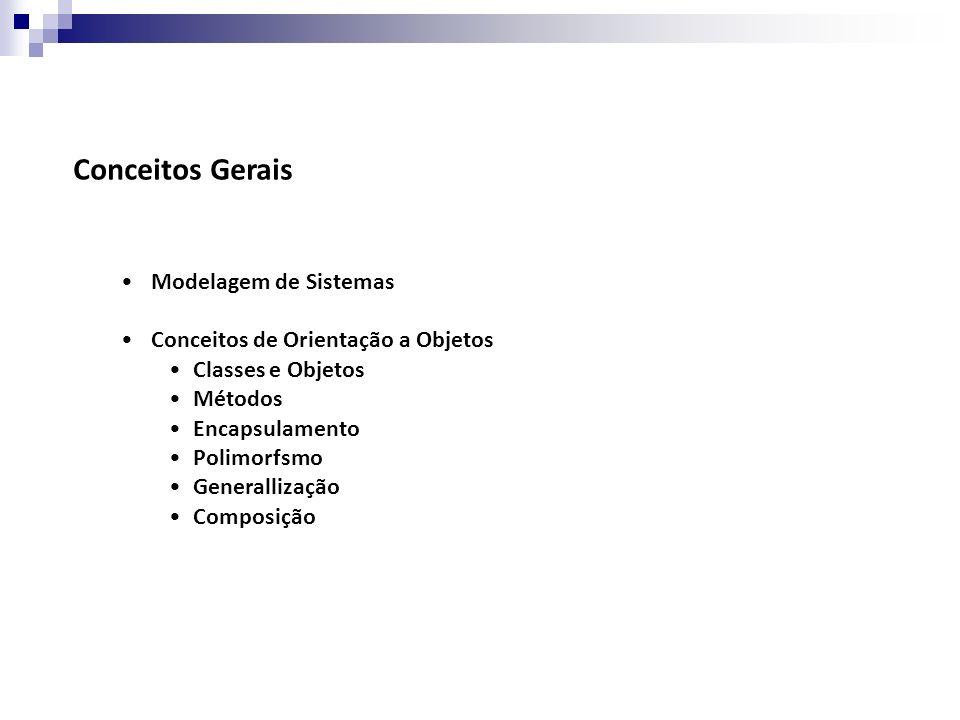 Conceitos Gerais Modelagem de Sistemas Conceitos de Orientação a Objetos Classes e Objetos Métodos Encapsulamento Polimorfsmo Generallização Composiçã