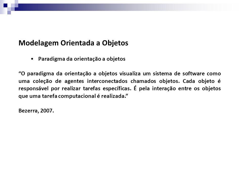 Modelagem Orientada a Objetos Paradigma da orientação a objetos O paradigma da orientação a objetos visualiza um sistema de software como uma coleção