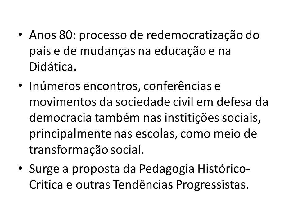 Anos 80: processo de redemocratização do país e de mudanças na educação e na Didática. Inúmeros encontros, conferências e movimentos da sociedade civi
