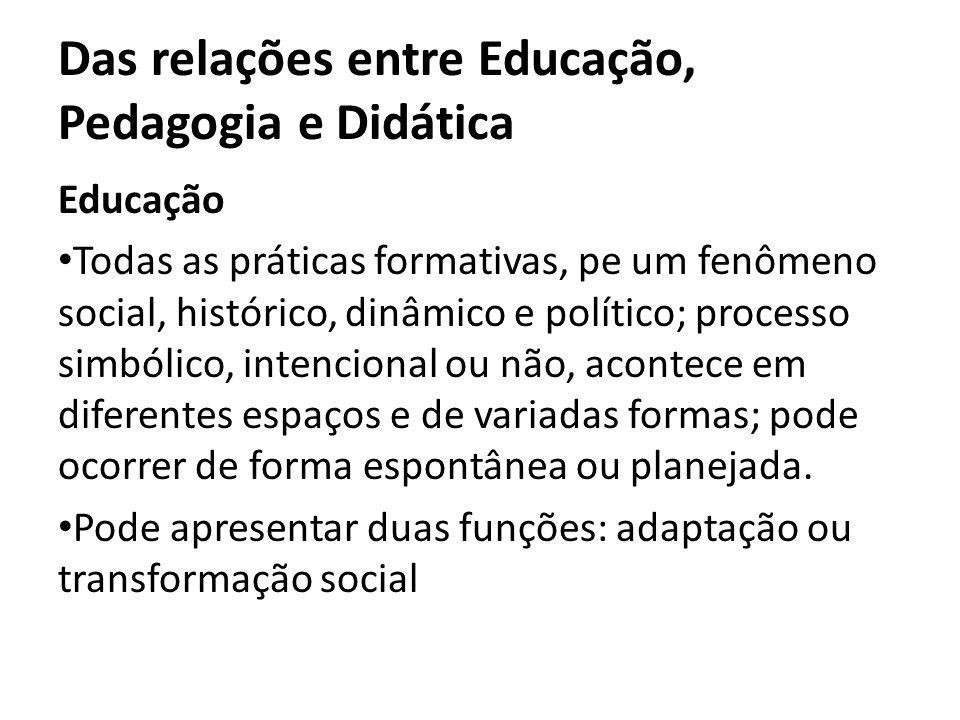 Das relações entre Educação, Pedagogia e Didática Educação Todas as práticas formativas, pe um fenômeno social, histórico, dinâmico e político; proces